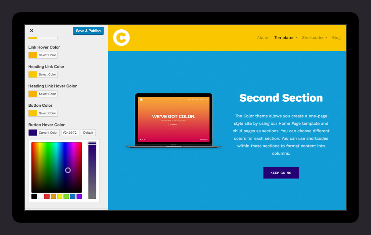 how to change link color in wordpress theme